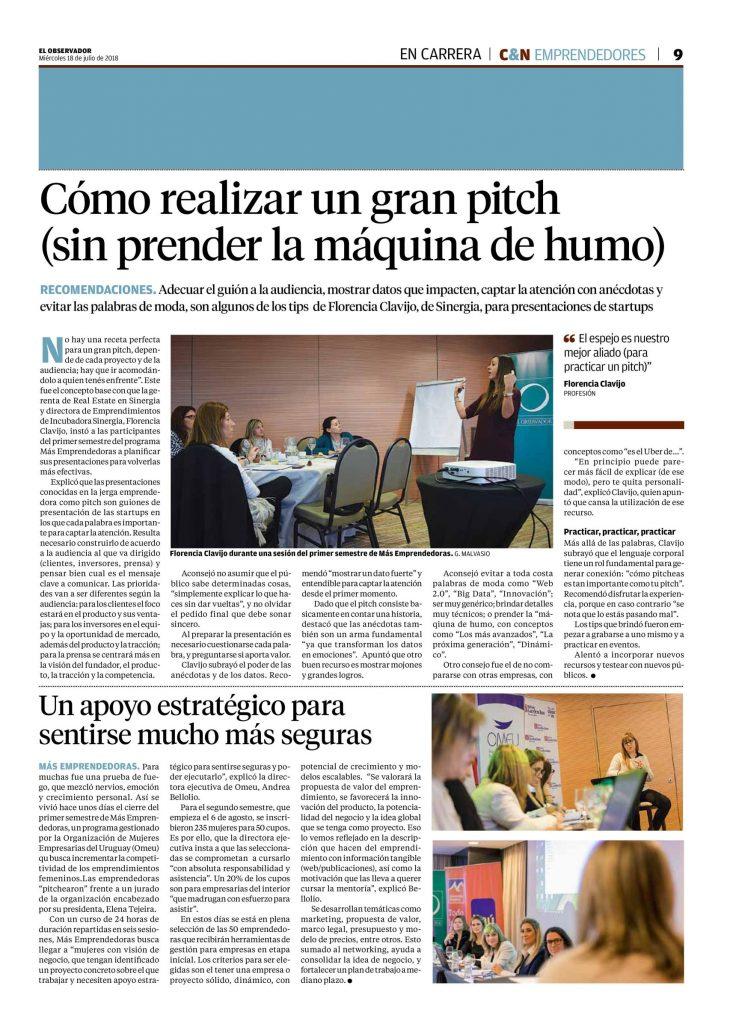 Recorte de Prensa Cierre Más Emprendedoras - Diario El Observador