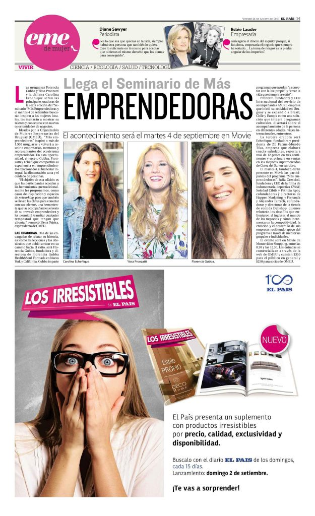 Diario El Pais - Seminario Mas Emprendedoras OMEU